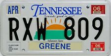 Tennessee  License Plate, Original  Nummernschild  USA  RXW 809  ORIGINALSCAN