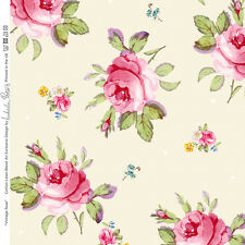 Designer Sewing Upholstery Curtain Vintage Rose Fabric Linen Cotton Metre