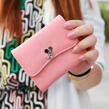 Women Girl Leather Love Pendant Cute Flap Wallet Trifold Small Checkbook
