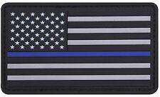 """PVC Thin Blue Line USA Flag Patch - 3"""" Police Support Hook Back Morale Patches"""