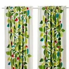 One Pair of IKEA Stockholm Blad Linen Curtains Panels Grean Leaves with Lining