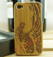 Sea Wave Genuine Natural Bamboo Wood Wooden Protector Case Cover for iphone4 4S