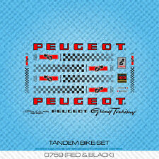 Peugeot Tandem bicyclette decals-transfers-autocollants-rouge & noir-set 759