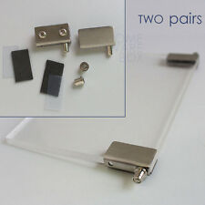 "Cabinet Showcase Glass Door Pivot Hinges Stainless Steel Clamps 1/4"" Bracket"