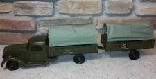 """1940s Buddy L Army Truck & Transport Pup Trailer 33"""" Set Canopy Troop Nice"""