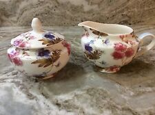 Gracie China Cream And Sugar Dish Set. Blue And Pink Flowers. Gorgeous. New.