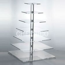 7 Tier Square Pole Acrylic Cupcake Stand Cup Cake Tower Tree Cupcake Display