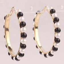 60mm Women 14K Gold Filled Large Circle Black And White Bead Stud Earring C883