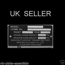 TRIUMPH VITESSE + MANY MARQUES MODELS CHASSIS PLATE CLASSIC VIN-PLATE-ESSENTIALS