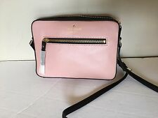 NWT KATE SPADE NEW YORK LEATHER Messenger & Cross Body BAG COLOR PALE PINK/BLACK