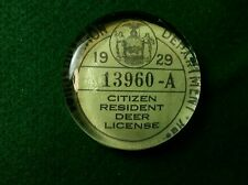 Vintage Style 1929 Deer Hunting License Glass Paperweight +