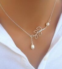 New Come Fashion Branch Pearl Leaf Pendant Charm Silver Plated Chain Necklace