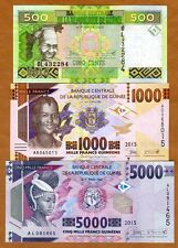 SET Guinea, 500;1000;5000 francs, 2015, Pick New, UNC   Redesigned