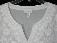 NWT Charter Club 2X Tunic Top Embroidered White Cotton Sheeting NEW Cat Rescue