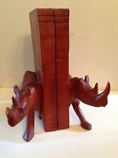 Brazilian Rosewood Or Muhuhu Wood Carved Rhino Rhinoceros Bookends