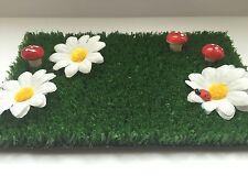 Fairy Garden Grass with Flowers, Toadstools & Ladybird - Fairy Door Accessory