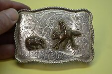 FLEMING 214 Engraved STERLING Rodeo Cowboy Belt Buckle w/ CUTTING HORSE SCENE