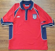 England Umbro Shirt Small 3 Lions Mens Short Sleeve Polo size S Red Blue White
