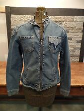 Women's Jean Jacket by YUKA Stretch Embroidery Design Size Large Zip Front