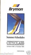 Airline Timetable - Brymon Airways - 25/03/90 - 1st Edition - S