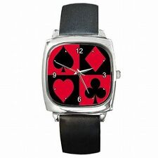Card Suits Poker Player Leather Square Watch New!