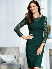 NEW $199 TALBOTS Teal Green Autumn Leaf Lace Sheath Dress Sz 6