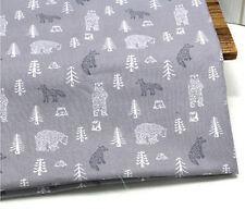 Fox and bear 100% Cotton Remnant  fabric 110 x 22.5cm Quilting fabric off cut g