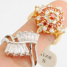 Wholesale Romantic Red Clear Cubic Zircon Gold Filled Lady Girl Ring Size 8