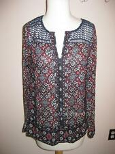 *WOW* $99 NWT LUCKY BRAND CROCHET PRINT L/S TUNIC TOP BLOUSE XS