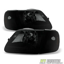 [4PC] Black Smoke 1997-2003 Ford F150 Expedition Headlights+Signal Corner Lamps