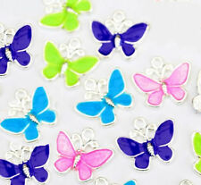 5 Silver Plated Enamel Butterfly Charm Pendant Mix Colour for Jewellery Making