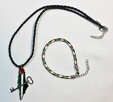 Lot of 2: Palestine (Map - Key) Necklace & Braided Palestine Flag Bracelet # 17