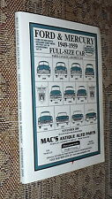Ford & Mercury 1949-1959 Full-Size Car Catalog,Mac's Antique Auto Parts,VG-, b13