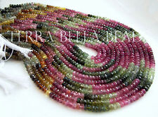"7"" AAA WATERMELON TOURMALINE faceted gem stone rondelle beads 4mm multi"
