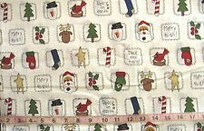 100% Cotton Fabric White with Christmas Items in Squares, Santa/Mittens/Trees