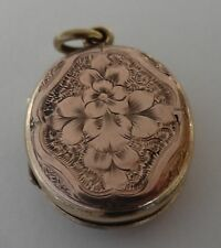 ANTIQUE VICTORIAN 9CT ROSE GOLD B&F FORGET ME NOT LOVE TOKEN LOCKET PENDANT