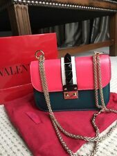 Valentino Rockstud Leather Colorblock Mini Chain Messenger Shoulder Bag