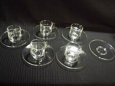 Set of (5) Vintage Duralex Demitasse Expressso Clear Glass Cup and Saucers