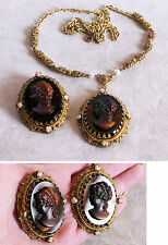 Vintage West Germany demi parure glass tortoiseshell cameo necklace, brooch