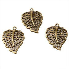 30x 141412 Bronze Leaf Charms Bronze Alloy Pendants 24mm Findings Free Shipping