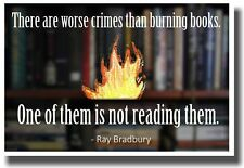 There Are Worse Crimes Than Burning Books - NEW Classroom Motivational Poster