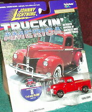 JOHNNY LIGHTNING 1940 FORD F1 PICK UP TRUCK RED w COLLECTOR CARD 1/64