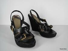 BURBERRY 36.5 6.5 Strappy Black Leather Buckles Platform Wedges Italy EUC