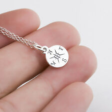 Solid 925 Sterling Silver Charms Navigation Graduation Compass Necklace Pendants