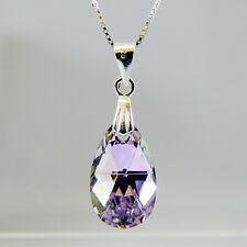 Sterling Silver Necklace w Swarovski Elements Crystal VL Purple Teardrop Pendant