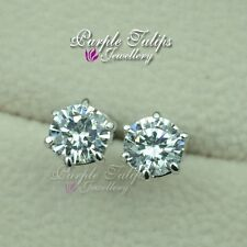 18K White Gold GP 1.25ct Round Cut Stud Earrings W/ Genuine Swarovski Diamond