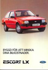 Ford Escort LX Mk 3 original full colour brochure 1984 Swedish market