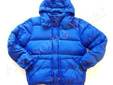 New Ralph Lauren Polo Classic Blue Hooded Poly Winter Puffer Down Jacket size L
