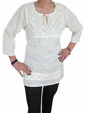 BOHEMIAN WHITE COTTON TUNIC TOP FLORAL EMBROIDERED GYPSY HIPPY SHORT KURTI S
