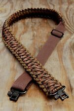Adjustable Paracord Rifle Gun Sling Strap With Swivels Coyote Brown & Fall Camo